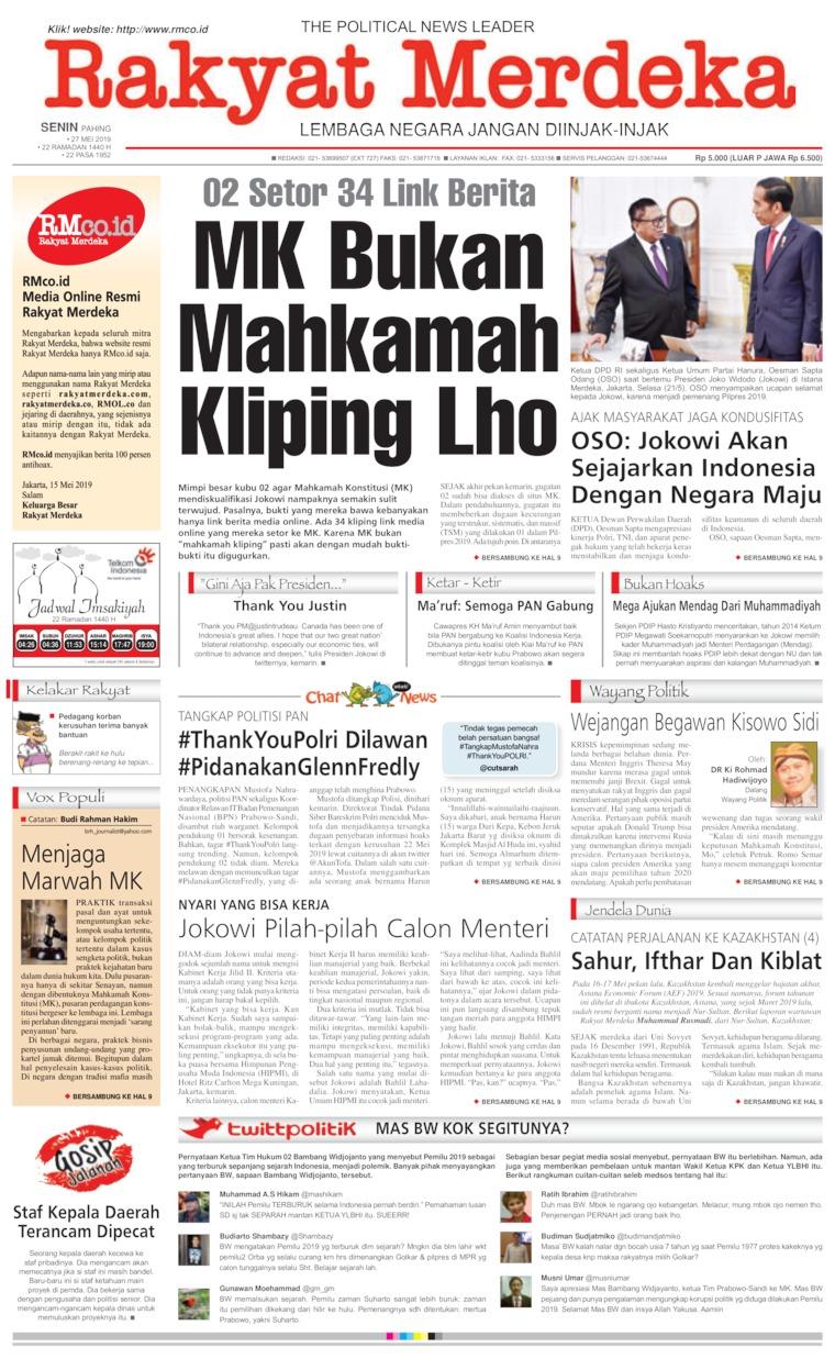Rakyat Merdeka Digital Newspaper 27 May 2019