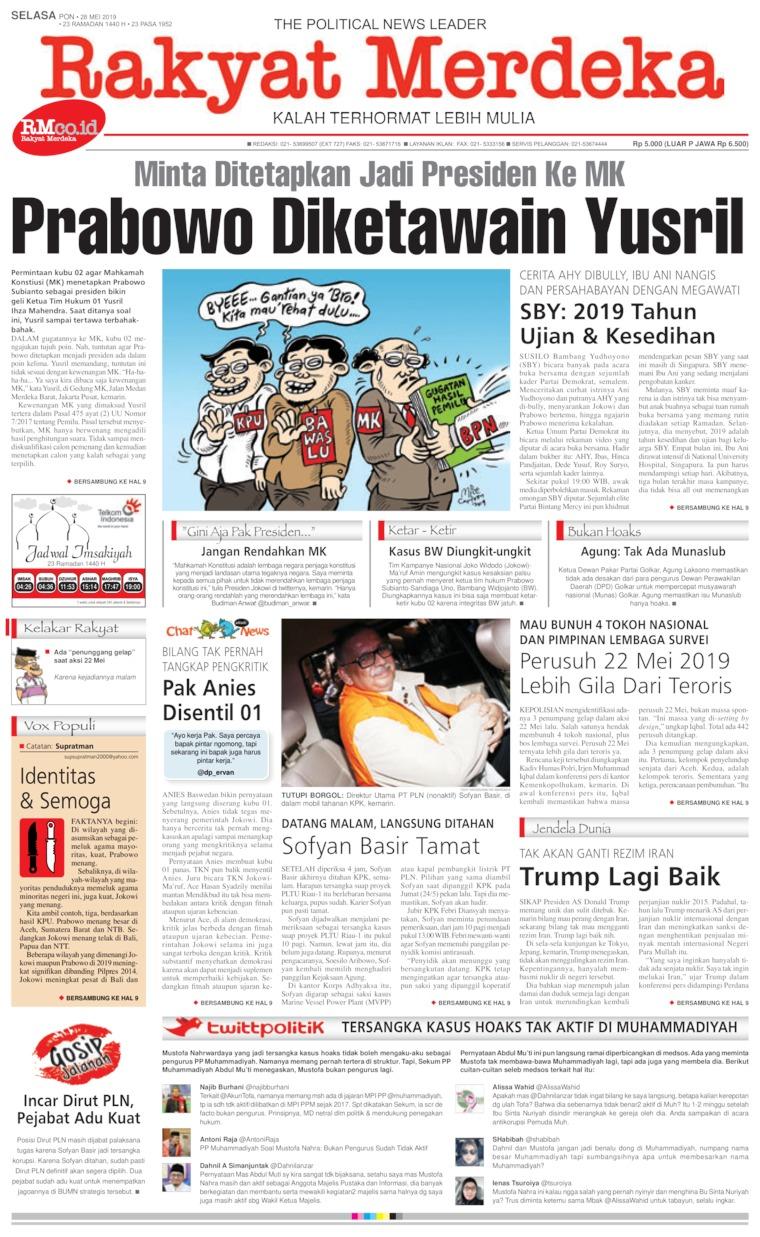 Rakyat Merdeka Digital Newspaper 28 May 2019