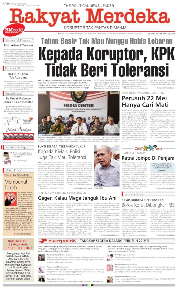 Rakyat Merdeka Digital Newspaper 29 May 2019