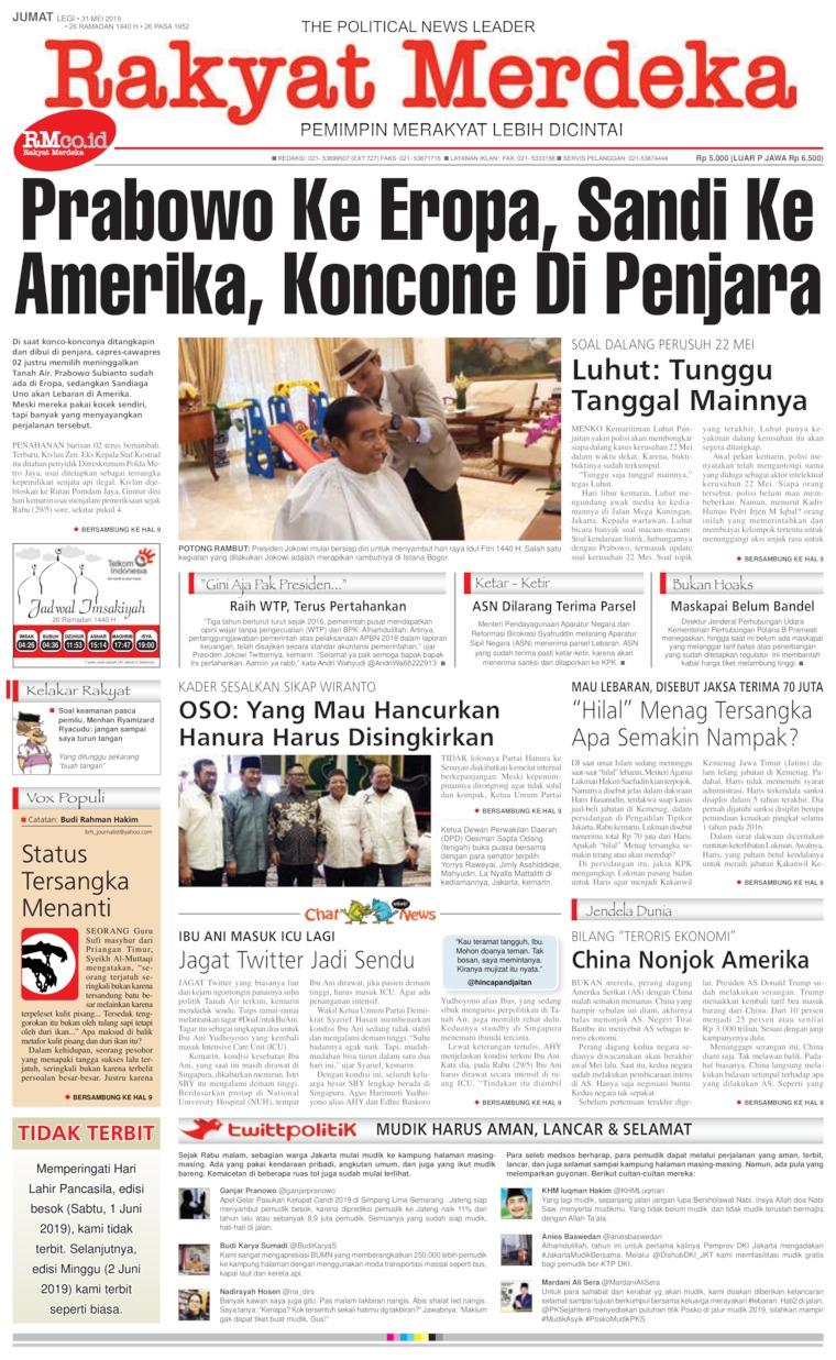 Rakyat Merdeka Digital Newspaper 31 May 2019