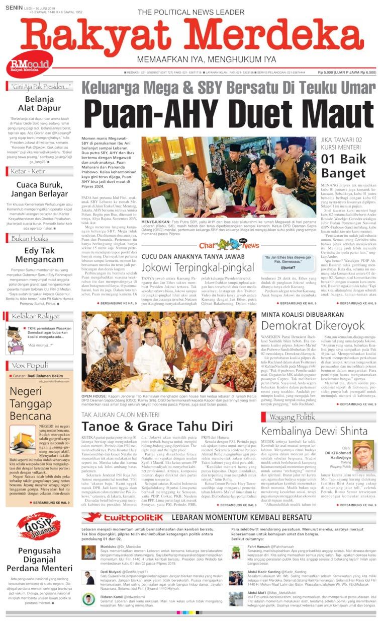 Koran Digital Rakyat Merdeka 10 Juni 2019