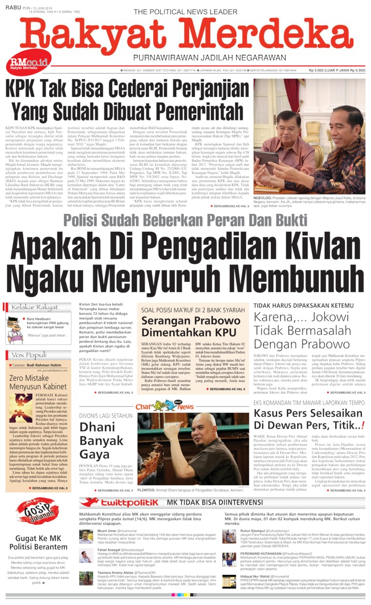 Rakyat Merdeka Digital Newspaper 12 June 2019