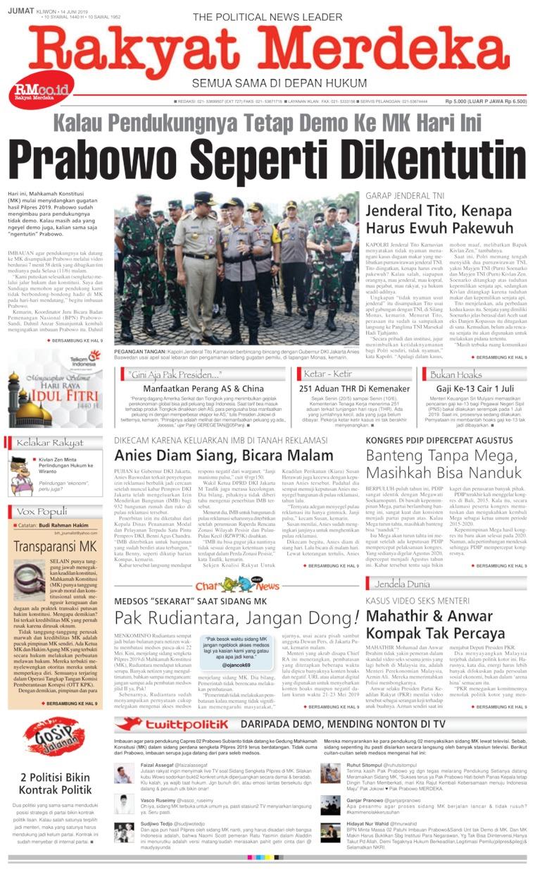 Rakyat Merdeka Digital Newspaper 14 June 2019