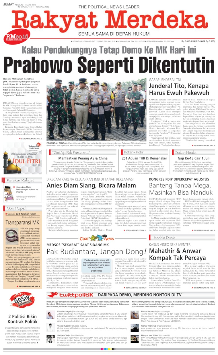 Koran Digital Rakyat Merdeka 14 Juni 2019
