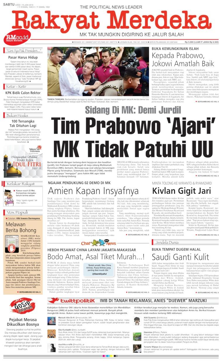 Koran Digital Rakyat Merdeka 15 Juni 2019