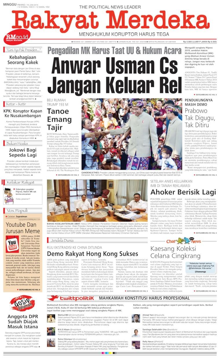 Koran Digital Rakyat Merdeka 16 Juni 2019