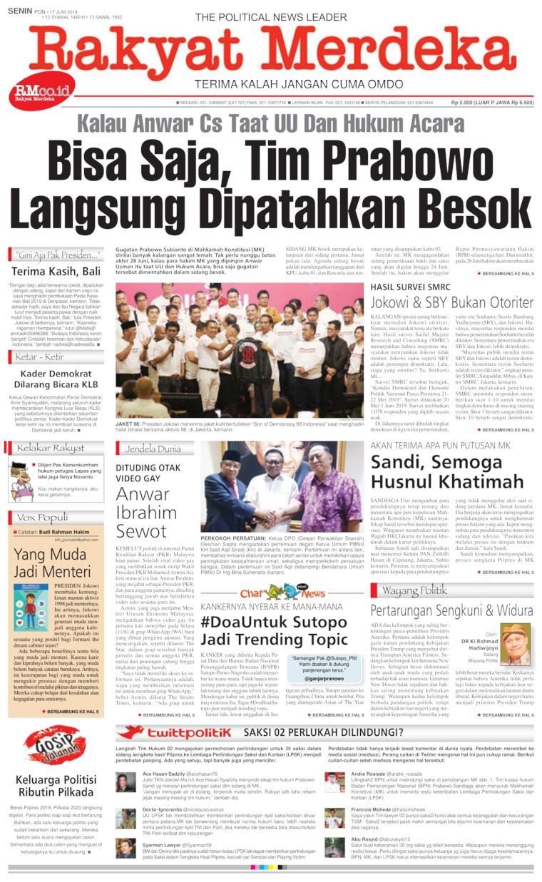 Koran Digital Rakyat Merdeka 17 Juni 2019
