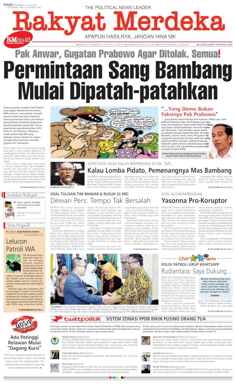 Rakyat Merdeka Digital Newspaper 19 June 2019
