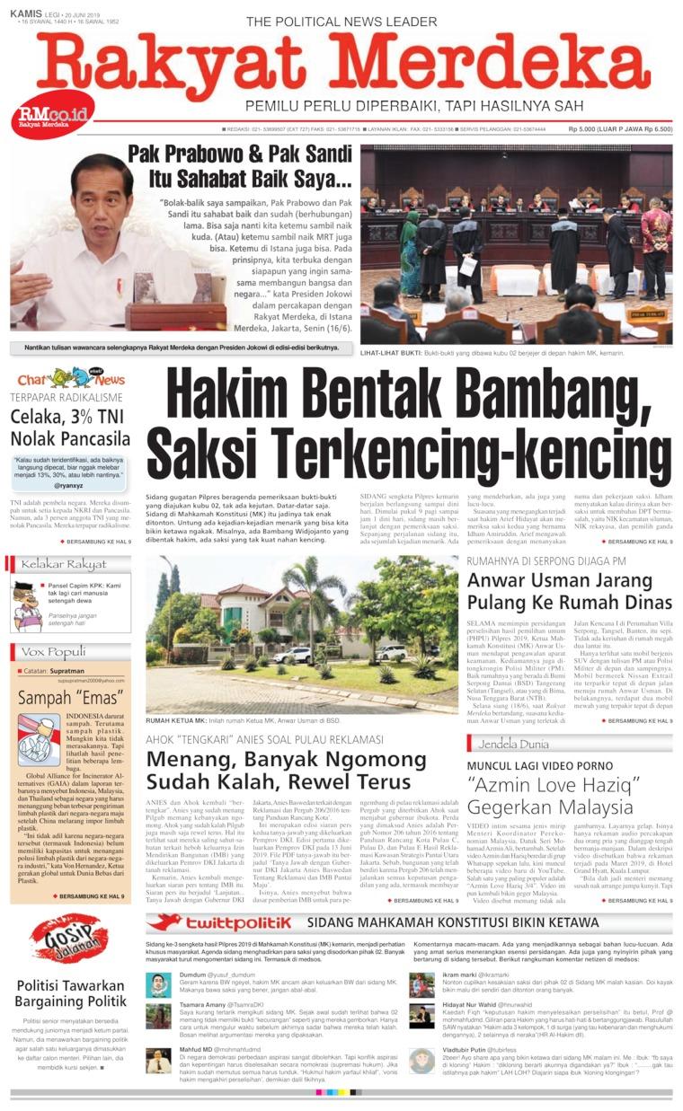 Rakyat Merdeka Digital Newspaper 20 June 2019
