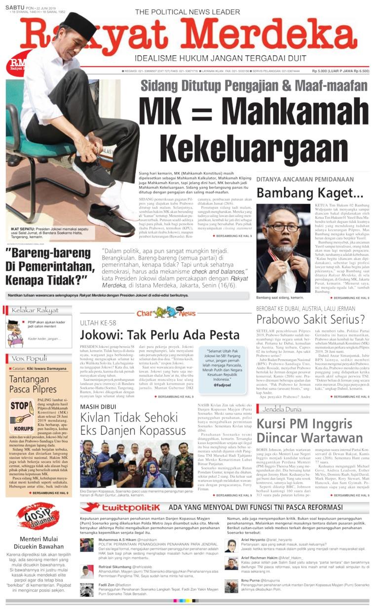 Rakyat Merdeka Digital Newspaper 22 June 2019