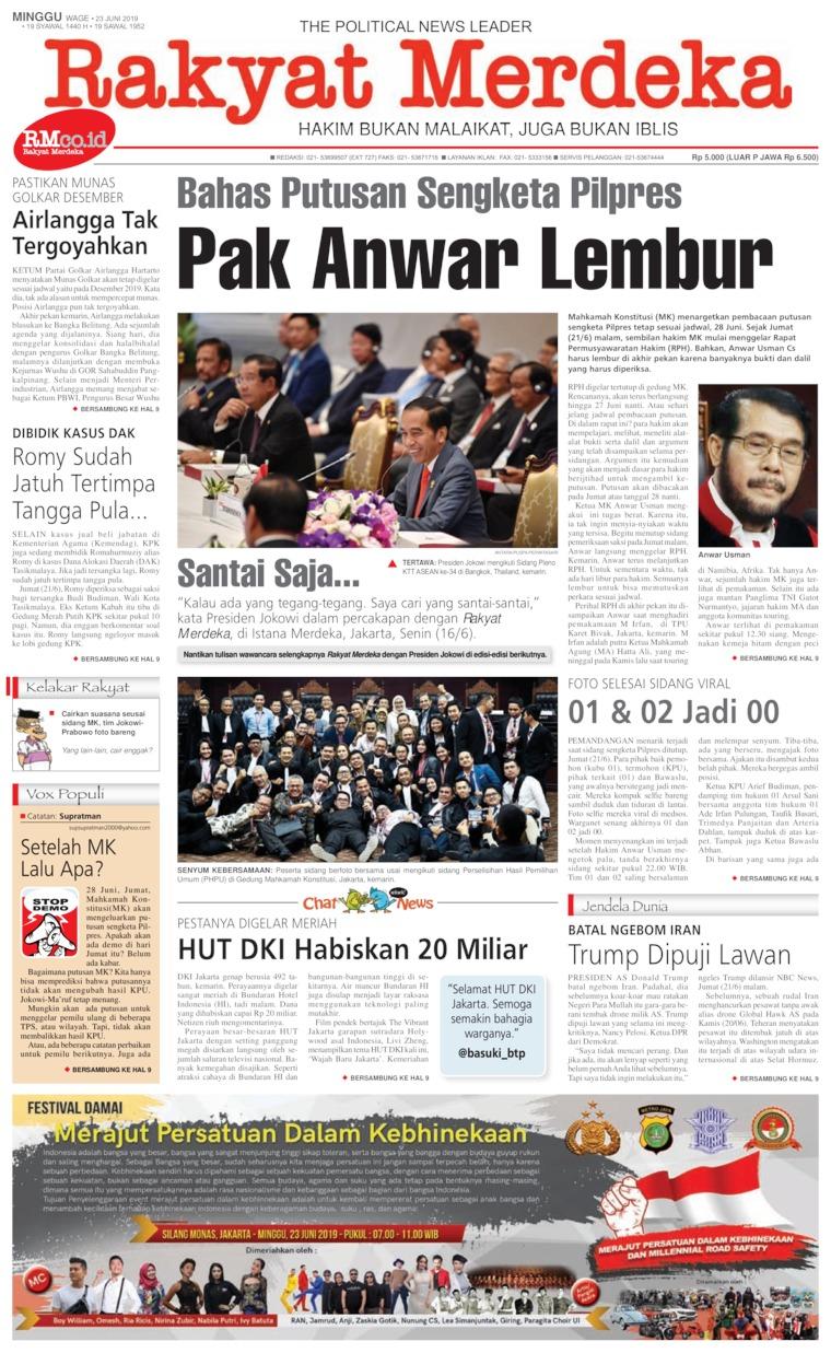 Koran Digital Rakyat Merdeka 23 Juni 2019