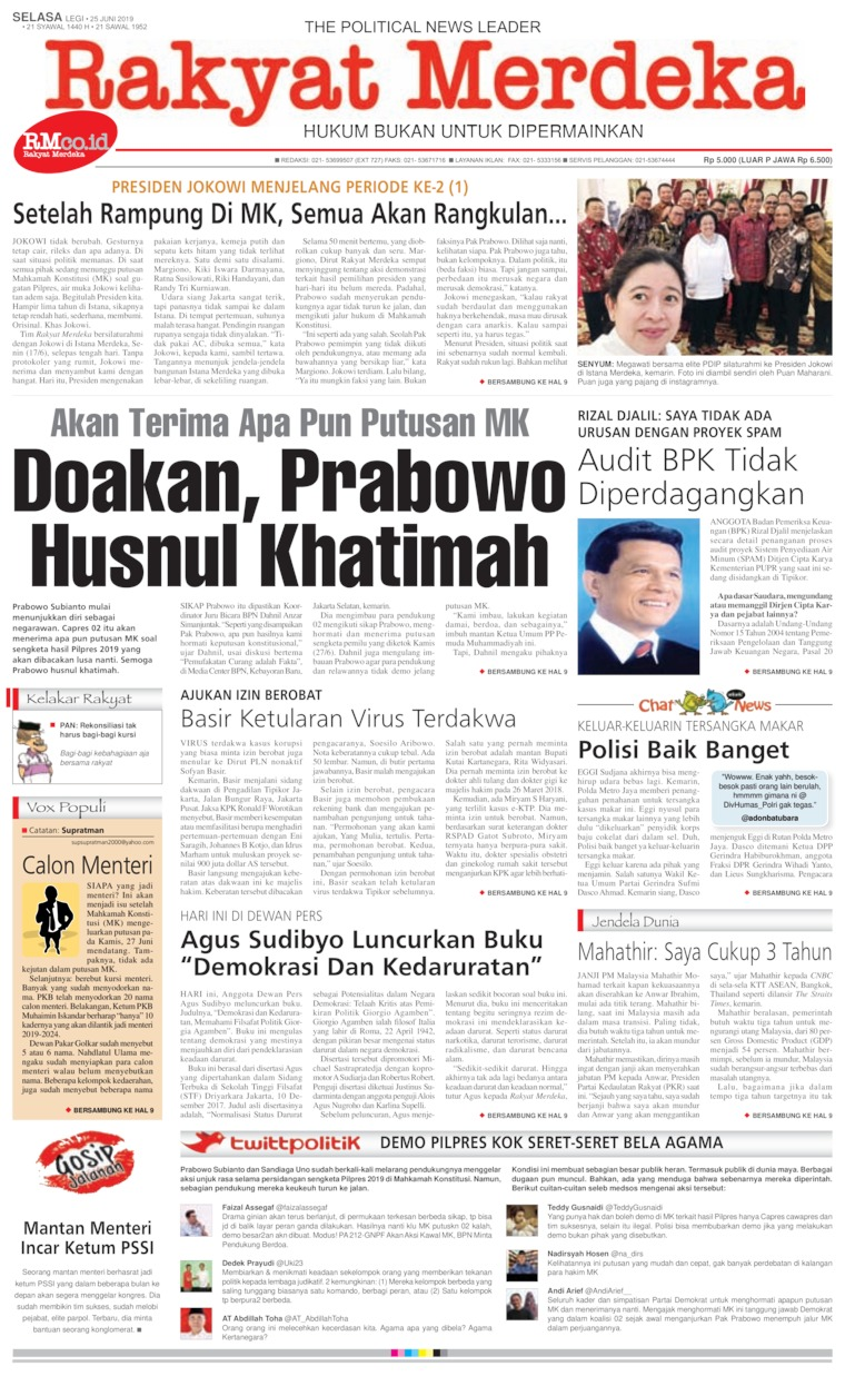 Rakyat Merdeka Digital Newspaper 25 June 2019