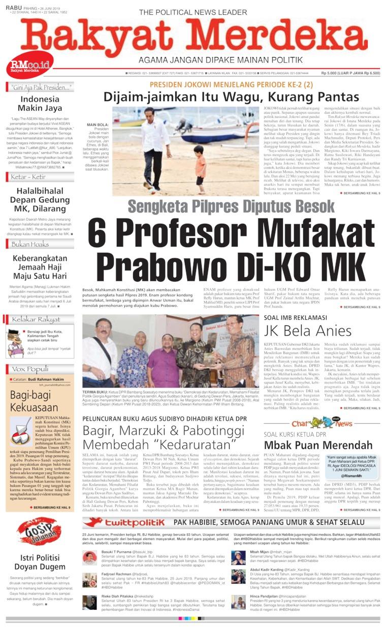 Rakyat Merdeka Digital Newspaper 26 June 2019