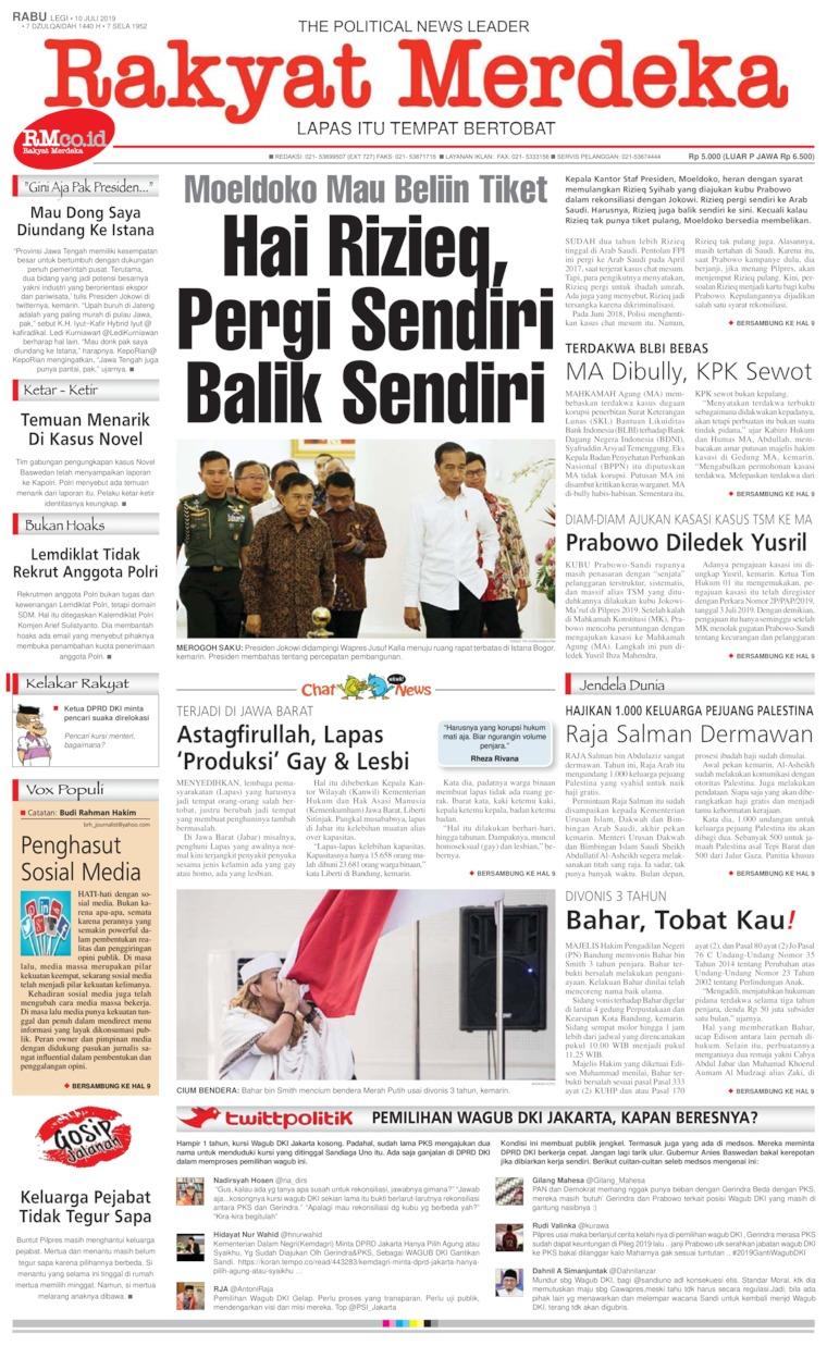 Koran Digital Rakyat Merdeka 10 Juli 2019