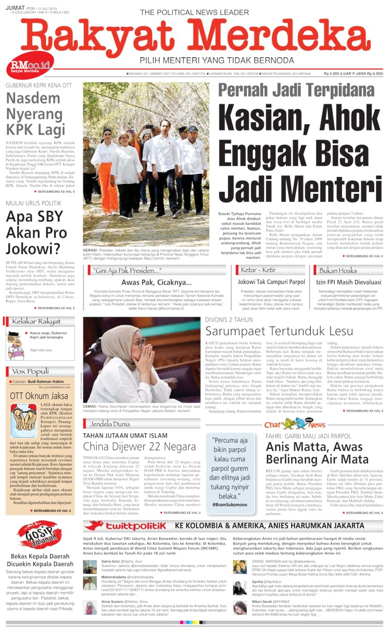Rakyat Merdeka Digital Newspaper 12 July 2019