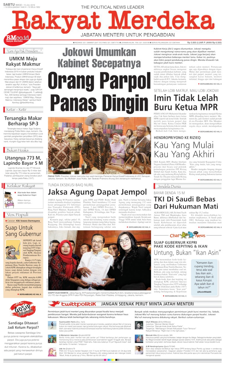 Rakyat Merdeka Digital Newspaper 13 July 2019