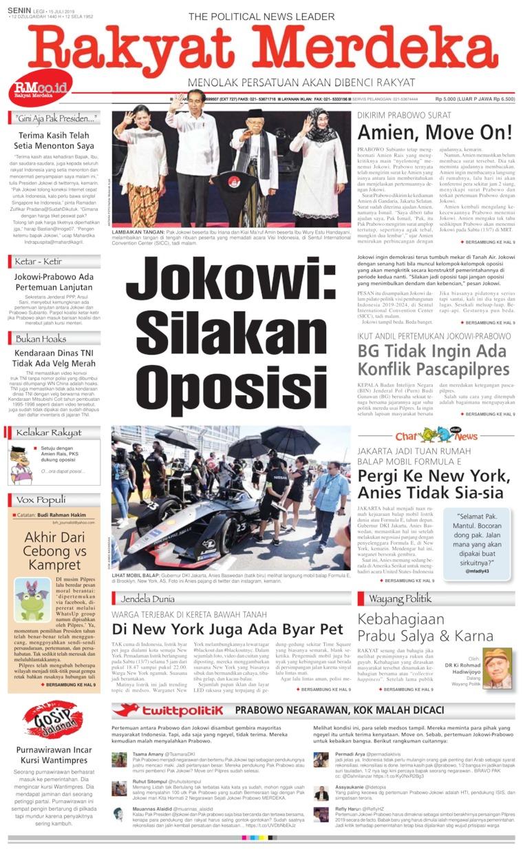 Rakyat Merdeka Digital Newspaper 15 July 2019