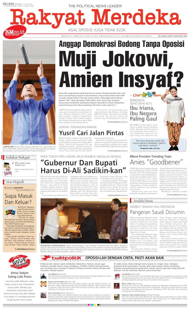 Rakyat Merdeka Digital Newspaper 16 July 2019