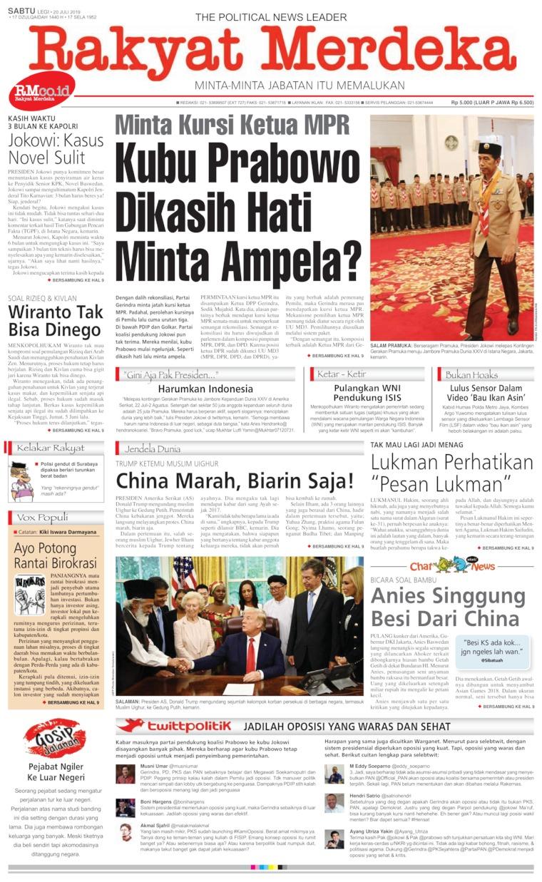 Rakyat Merdeka Digital Newspaper 20 July 2019