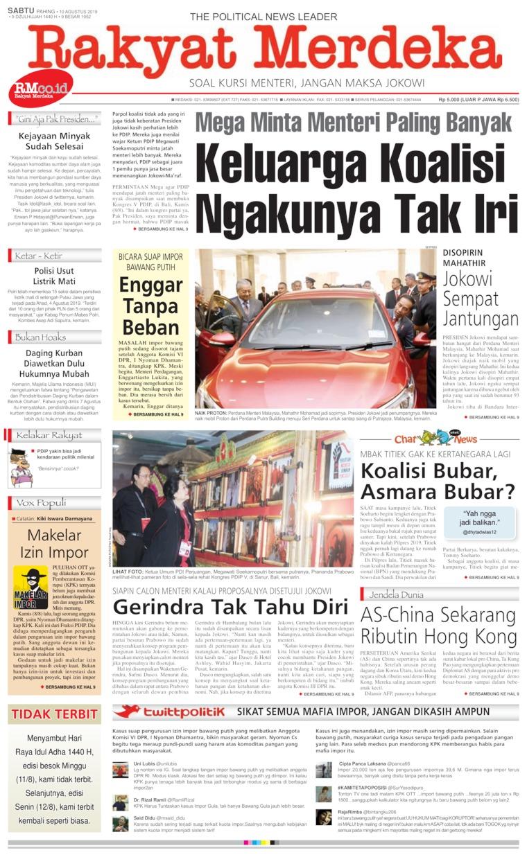 Koran Digital Rakyat Merdeka 10 Agustus 2019