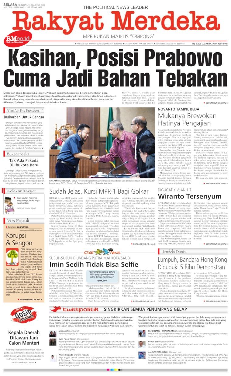 Koran Digital Rakyat Merdeka 13 Agustus 2019