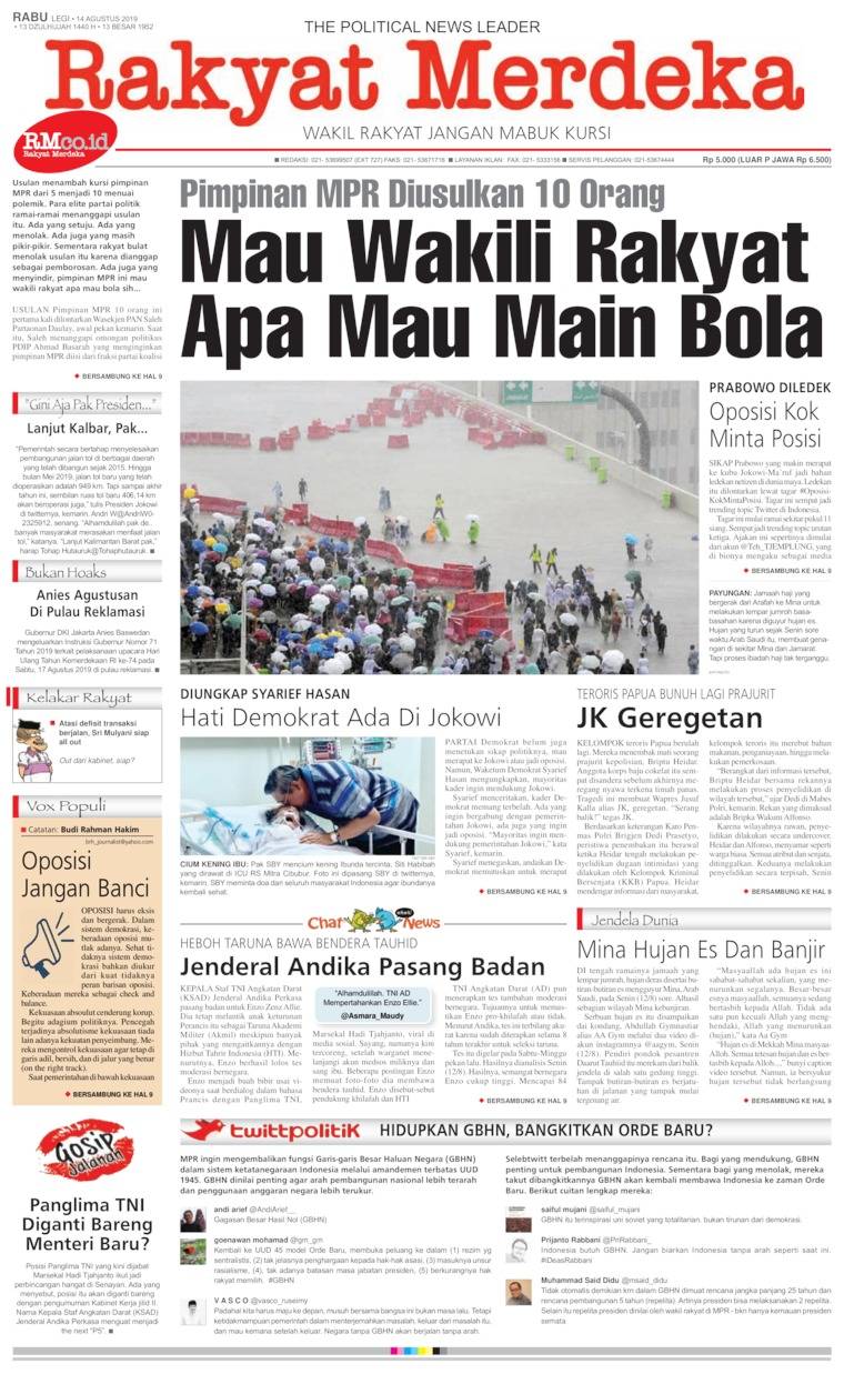 Rakyat Merdeka Digital Newspaper 14 August 2019