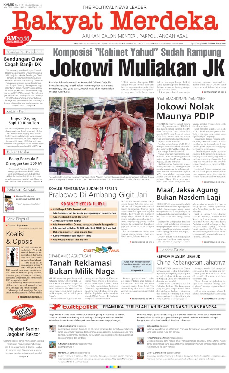 Rakyat Merdeka Digital Newspaper 15 August 2019