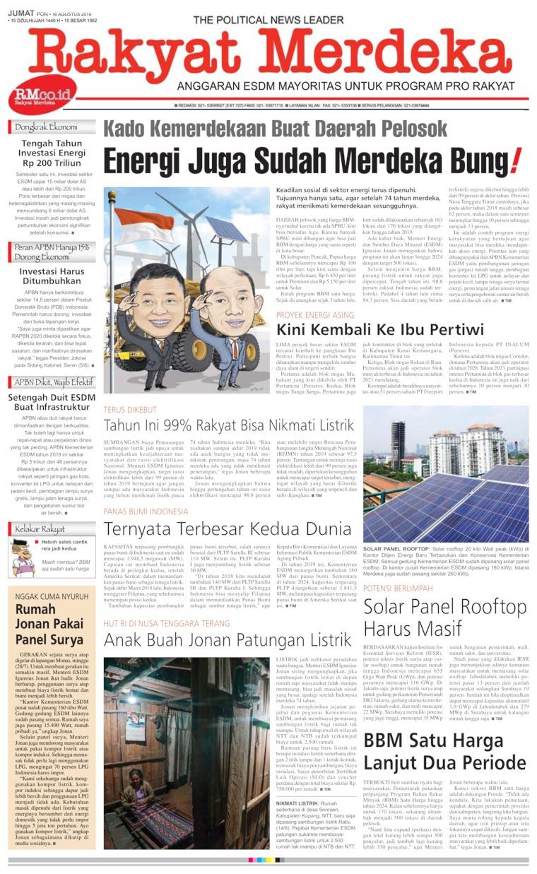 Koran Digital Rakyat Merdeka 16 Agustus 2019