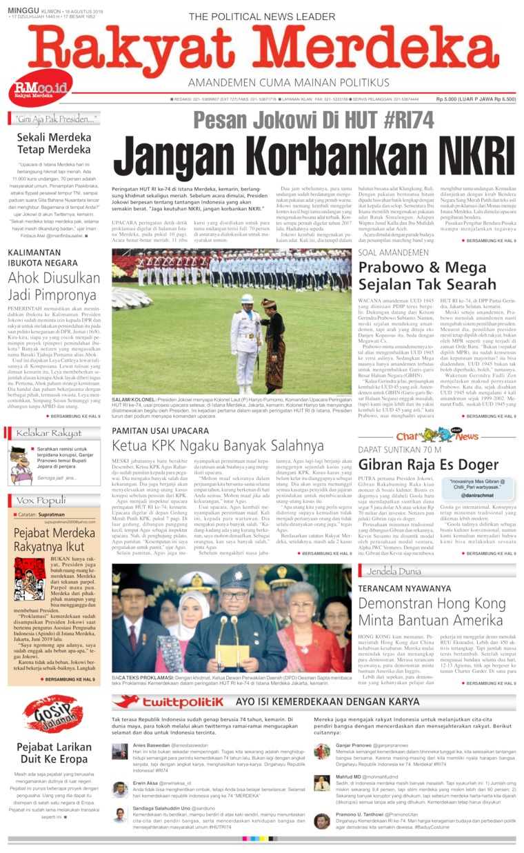 Rakyat Merdeka Digital Newspaper 18 August 2019
