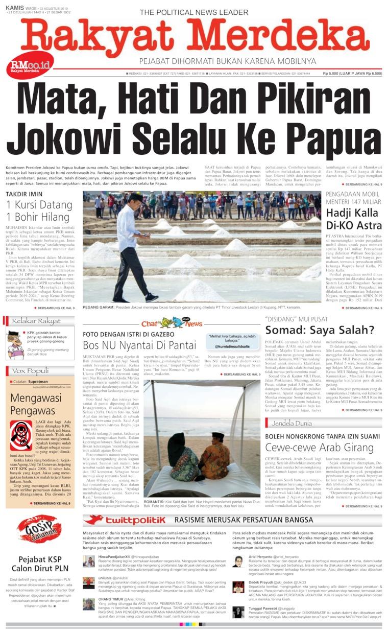 Rakyat Merdeka Digital Newspaper 22 August 2019