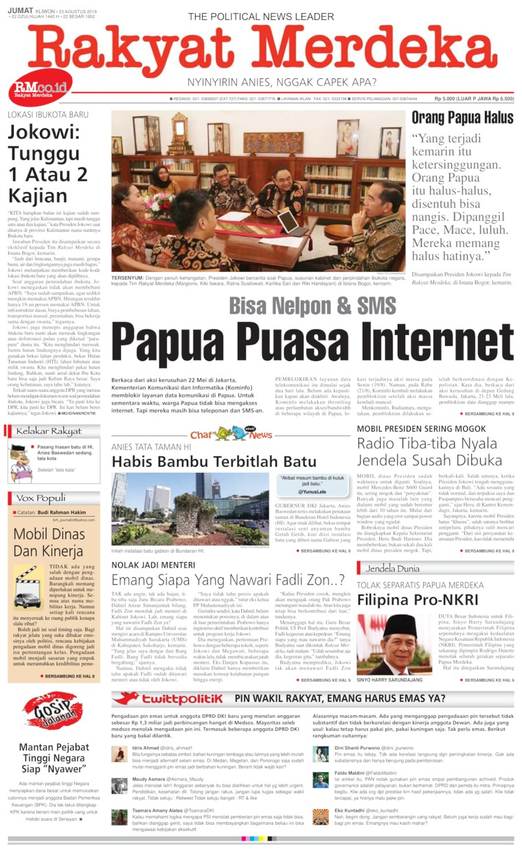 Rakyat Merdeka Digital Newspaper 23 August 2019