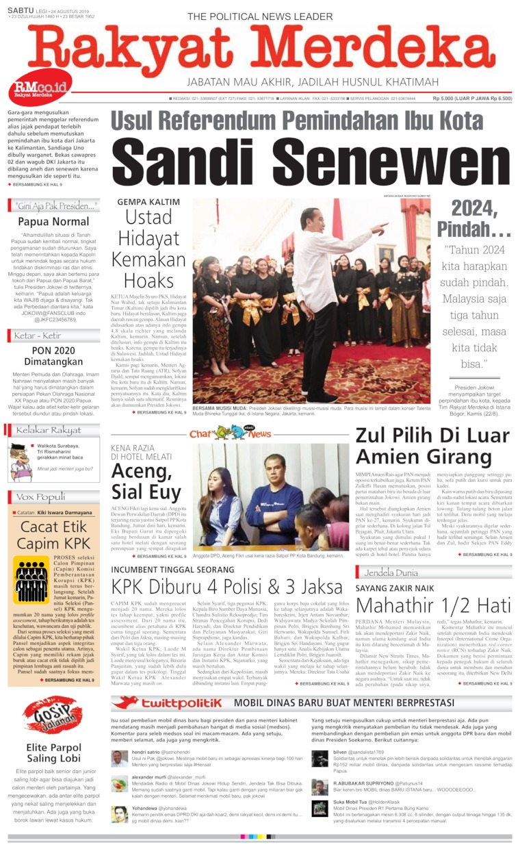 Rakyat Merdeka Digital Newspaper 24 August 2019