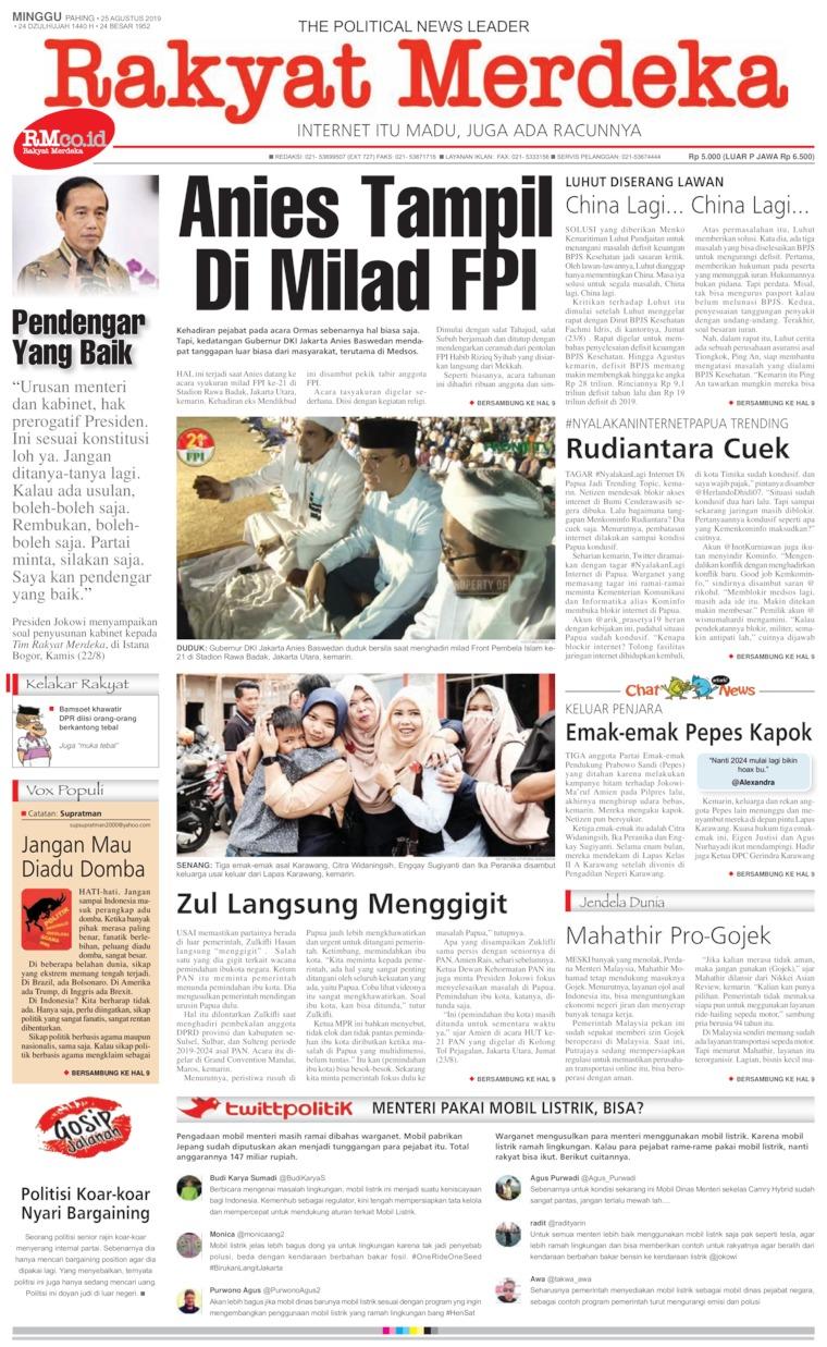 Koran Digital Rakyat Merdeka 25 Agustus 2019