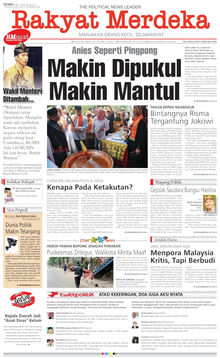 Rakyat Merdeka Digital Newspaper 26 August 2019