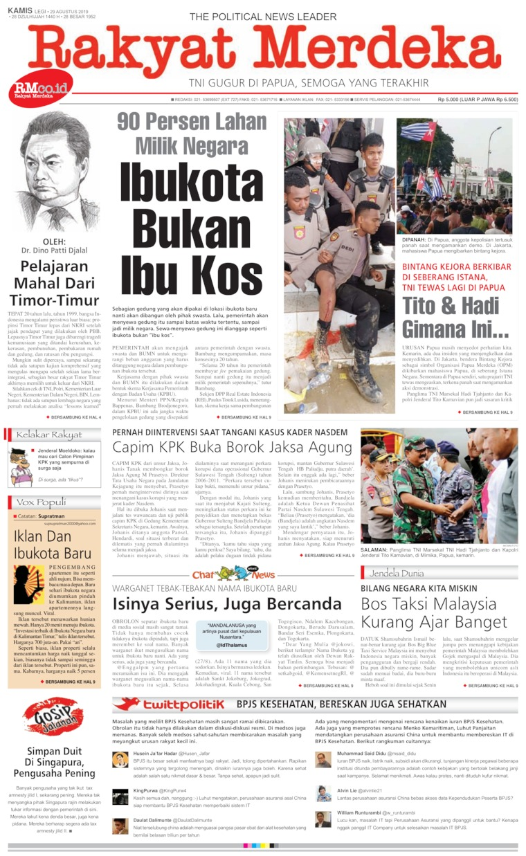 Koran Digital Rakyat Merdeka 29 Agustus 2019