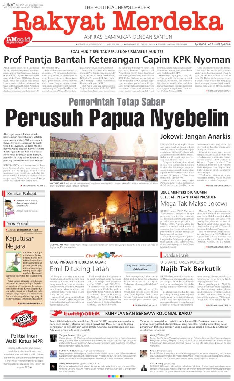 Koran Digital Rakyat Merdeka 30 Agustus 2019