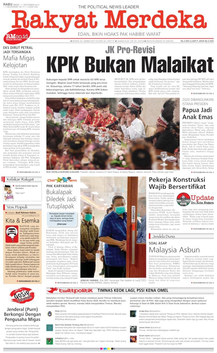 Rakyat Merdeka Digital Newspaper 11 September 2019