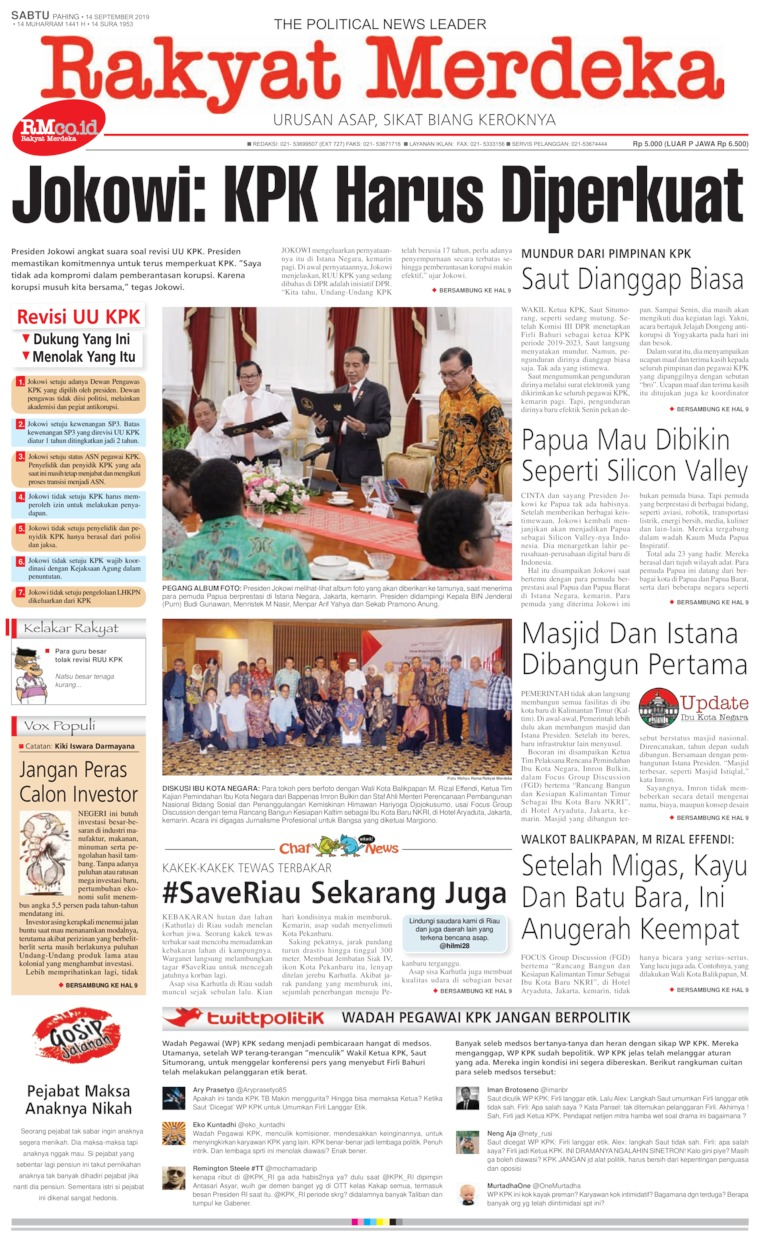 Rakyat Merdeka Digital Newspaper 14 September 2019