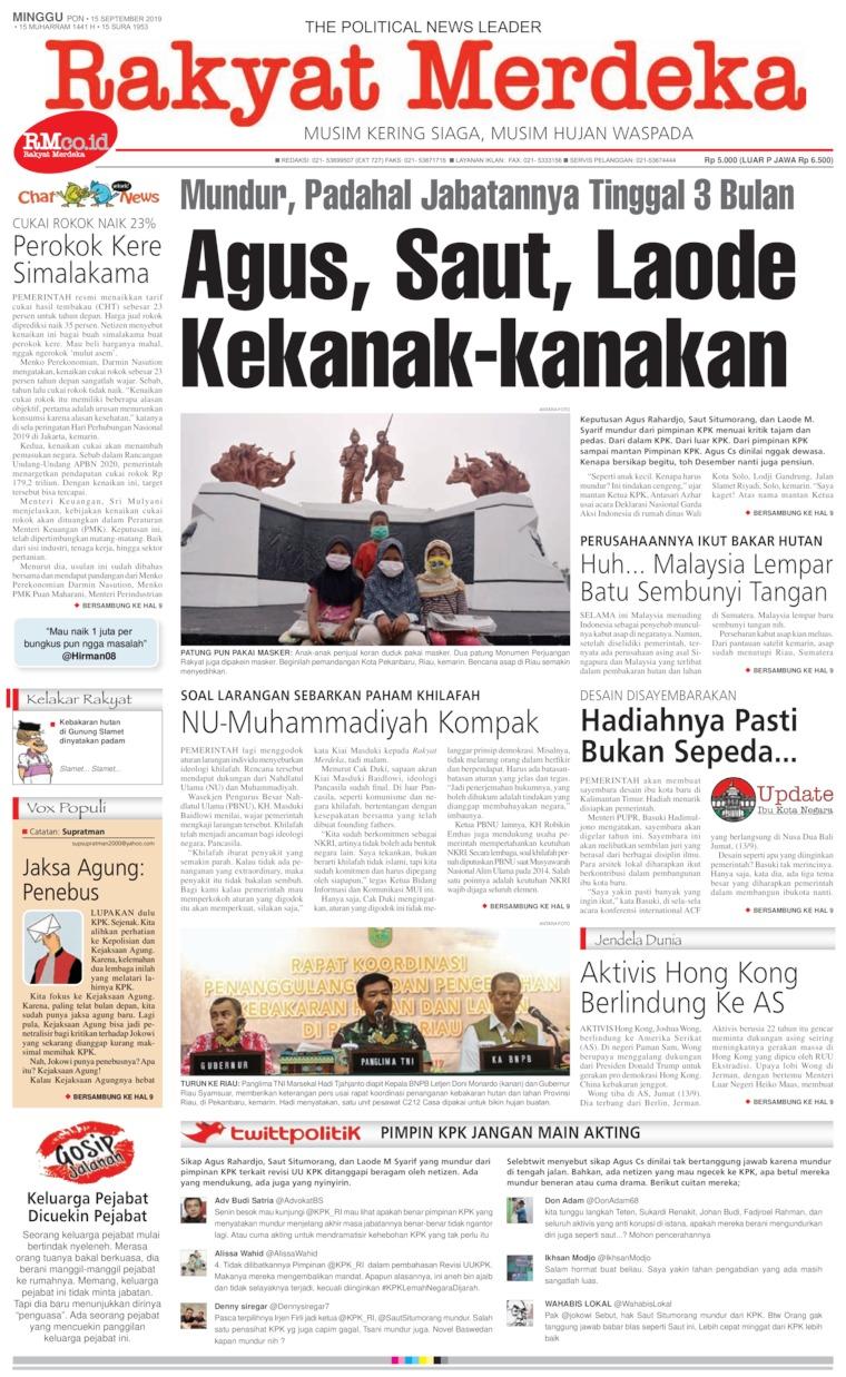 Koran Digital Rakyat Merdeka 15 September 2019