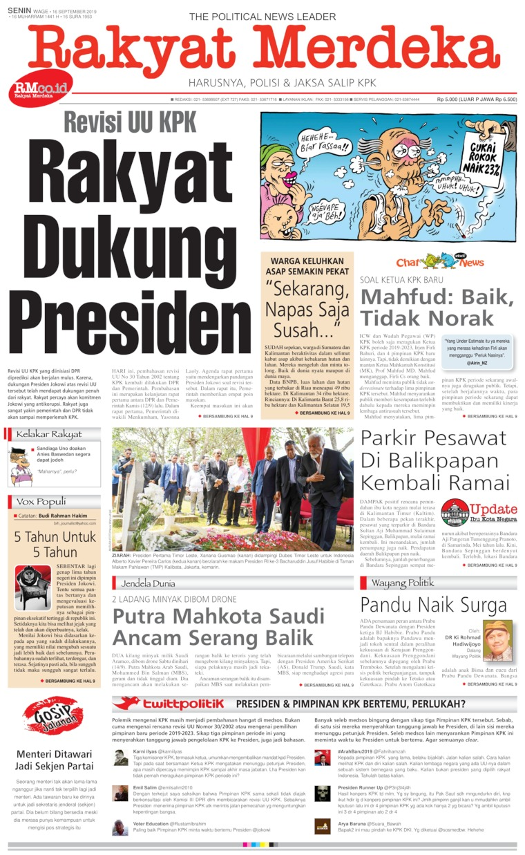 Koran Digital Rakyat Merdeka 16 September 2019
