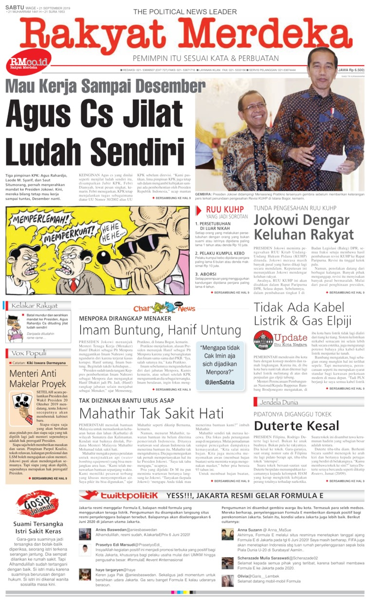 Rakyat Merdeka Digital Newspaper 21 September 2019