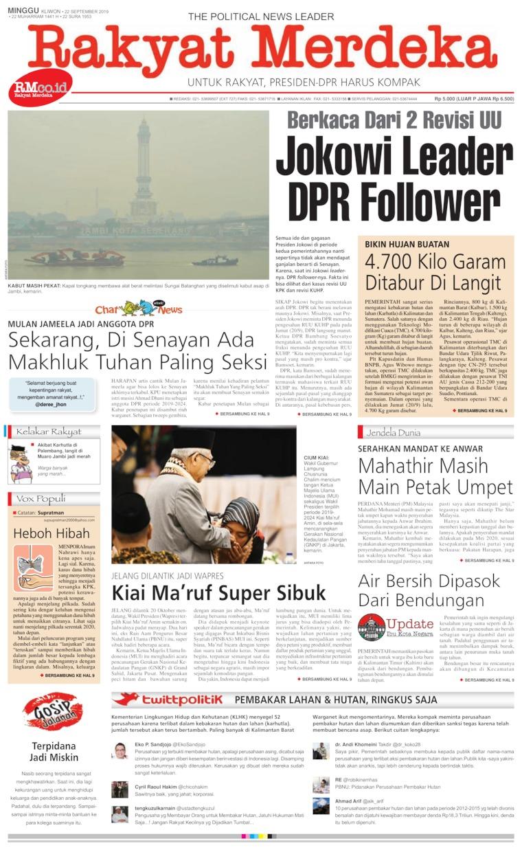 Rakyat Merdeka Digital Newspaper 22 September 2019