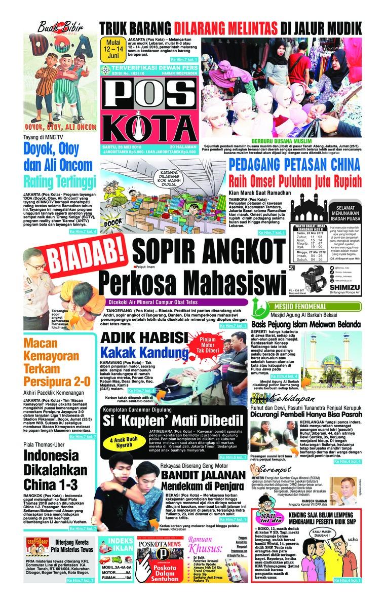 Koran Digital Pos Kota 26 Mei 2018