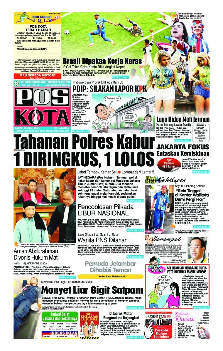 Koran Digital Pos Kota 23 Juni 2018