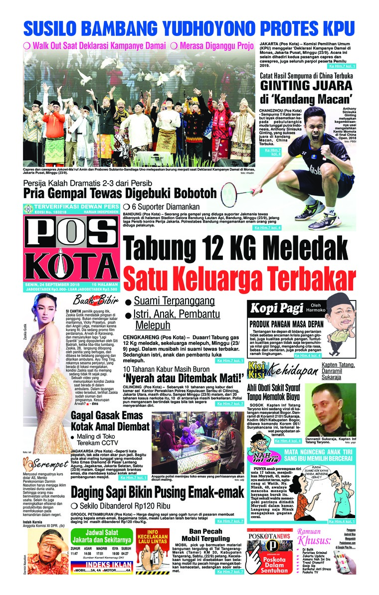 Koran Digital Pos Kota 24 September 2018