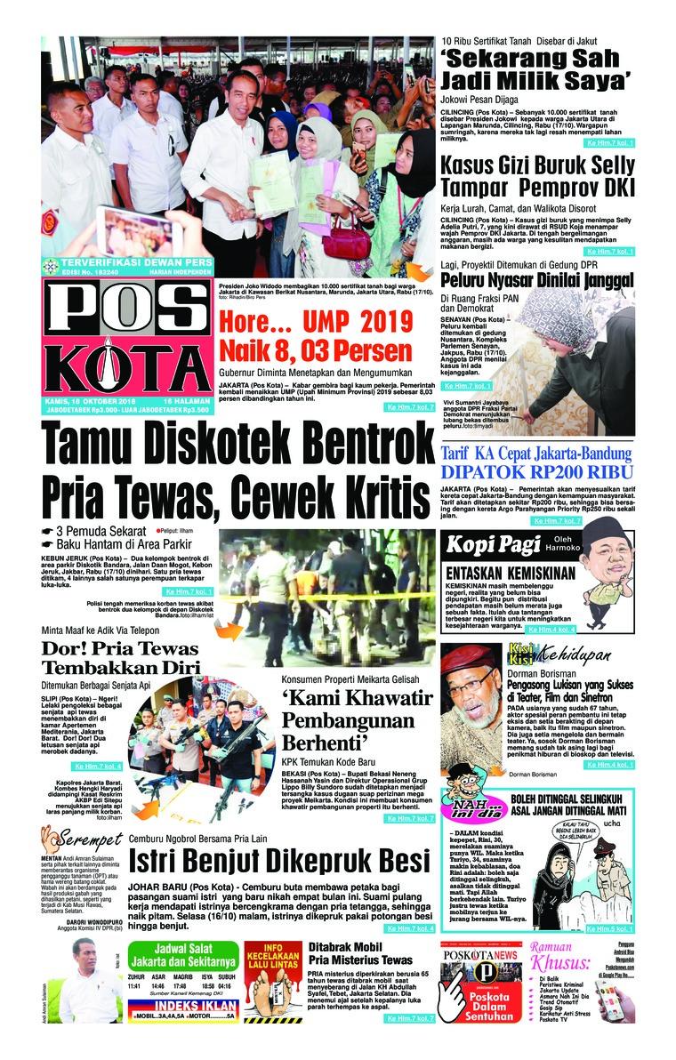 Koran Digital Pos Kota 18 Oktober 2018
