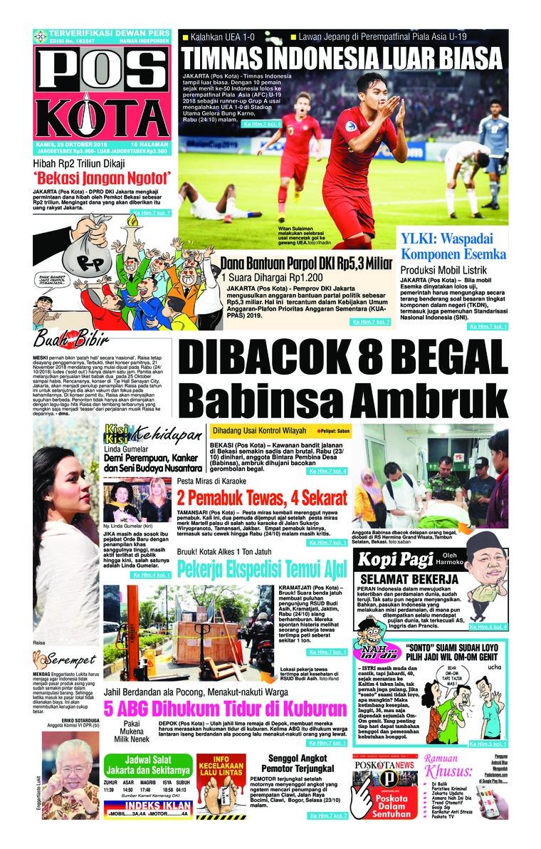 Pos Kota Newspaper 25 October 2018 Gramedia Digital