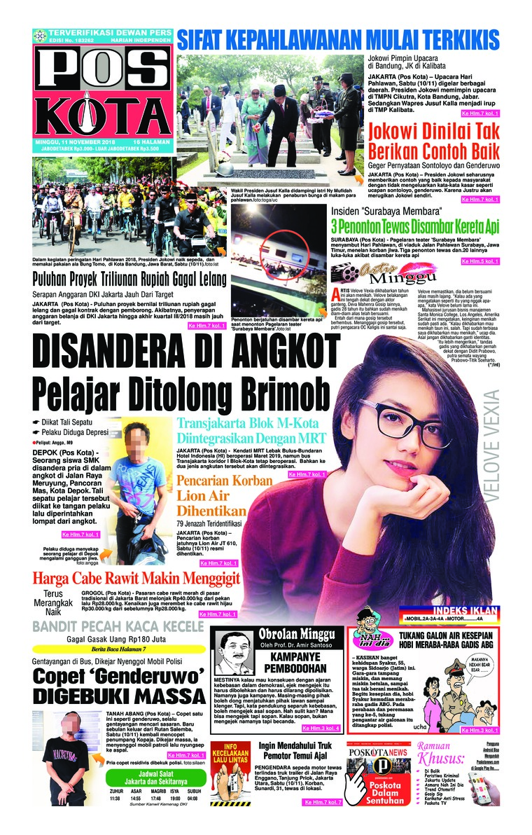 Pos Kota Newspaper 11 November 2018 Gramedia Digital
