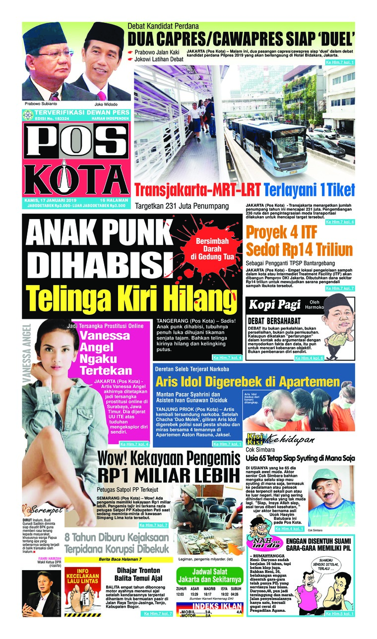Koran Digital Pos Kota 17 Januari 2019