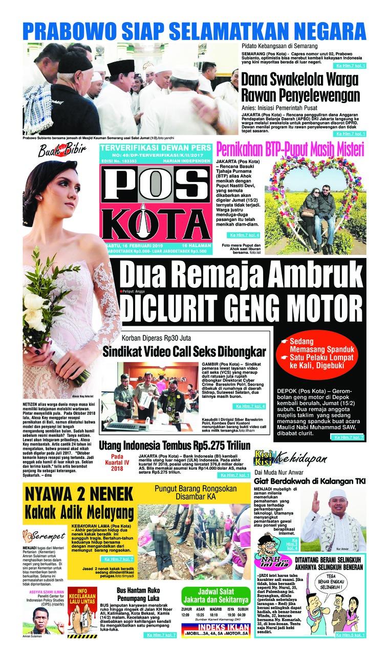 Koran Digital Pos Kota 16 Februari 2019